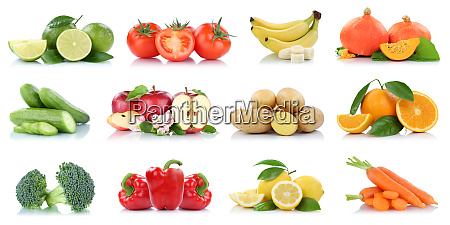 fruits vegetables collection isolated apple apples