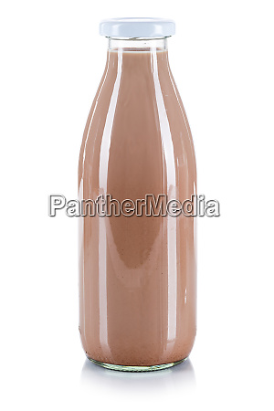 fresh chocolate drink milk bottle isolated