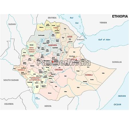 verwaltungs und politische landkarte AEthiopiens