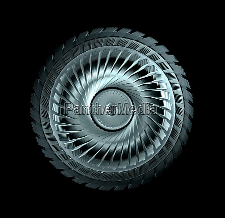 industrial steel wheel with blades isolated
