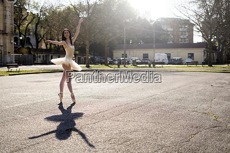 italy verona smiling ballerina dancing in