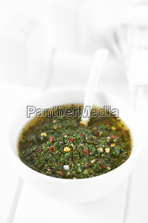 green chimichurri salsa or sauce