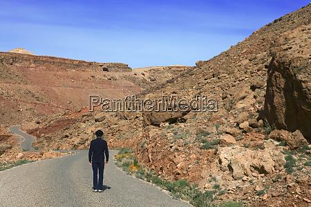 morocco ounila valley rear view of