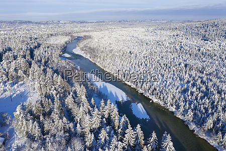 germany bavaria aerial view over isar