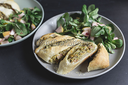 strudel filled with vegetables and ham