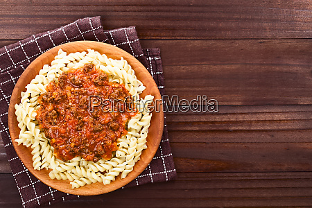vegan soy meat bolognese sauce on