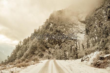 misty cinematic mountain road landscape landscape