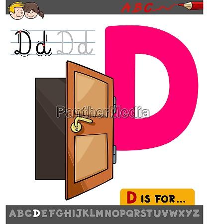 letter d worksheet with cartoon door