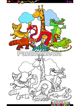 happy animal characters group color book