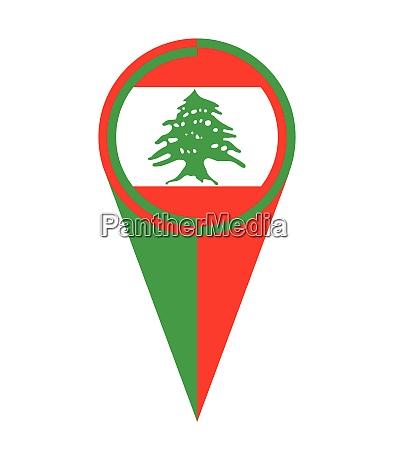 libanon karte zeiger lage flagge