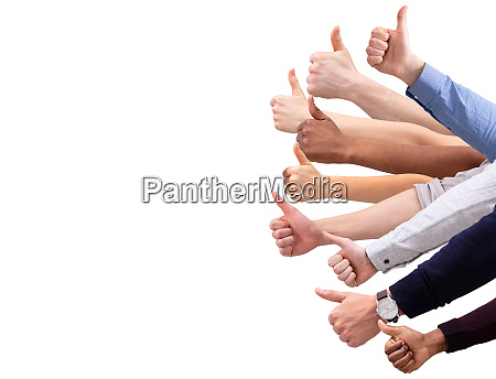 group of people hand showing