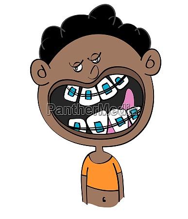 lustige schwarze junge mit zahnspangen cartoon