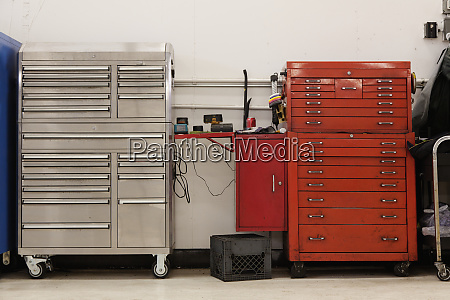 tool chests in an automobile repair