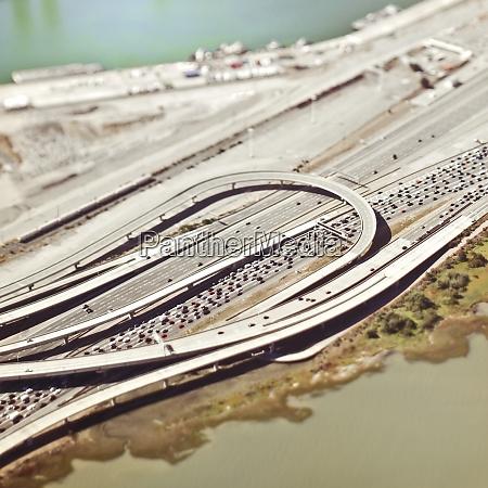 aerial view of freeway traffic