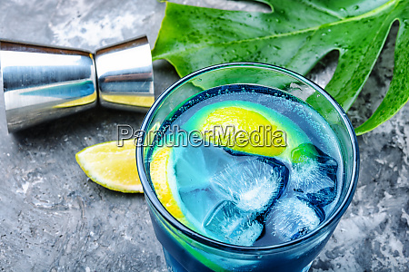 blue cocktail with icealcohol drink
