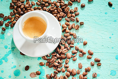 cup of aromatic espresso coffee with