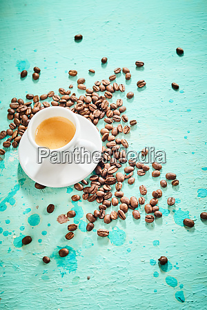 freshly brewed espresso coffee with roasted