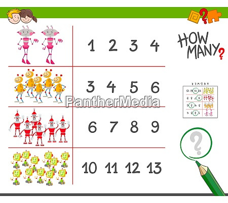 counting task with robots cartoon illustration