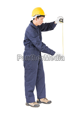 young worker in unifrom with tape