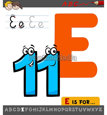 letter e worksheet with cartoon eleven