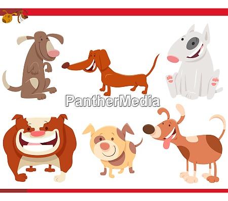 hunde und welpen cartoon figuren gesetzt