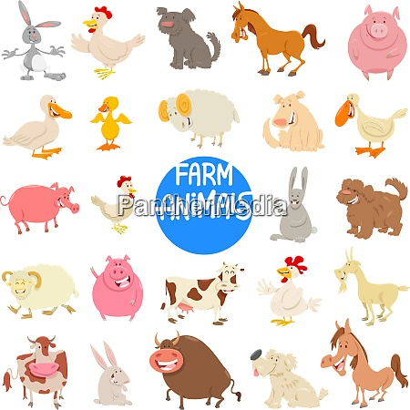 cartoon farm animal characters large set