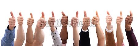gruppe von menschen hand zeigen daumen