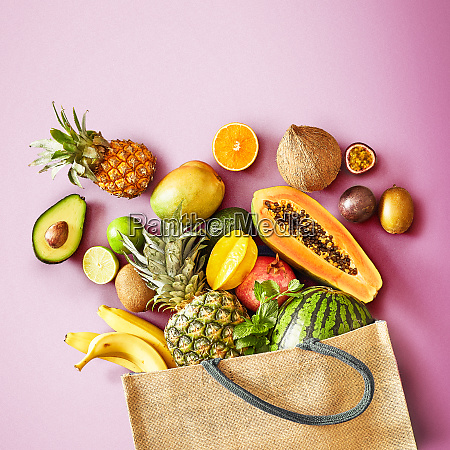fresh tropical fruit on a colorful