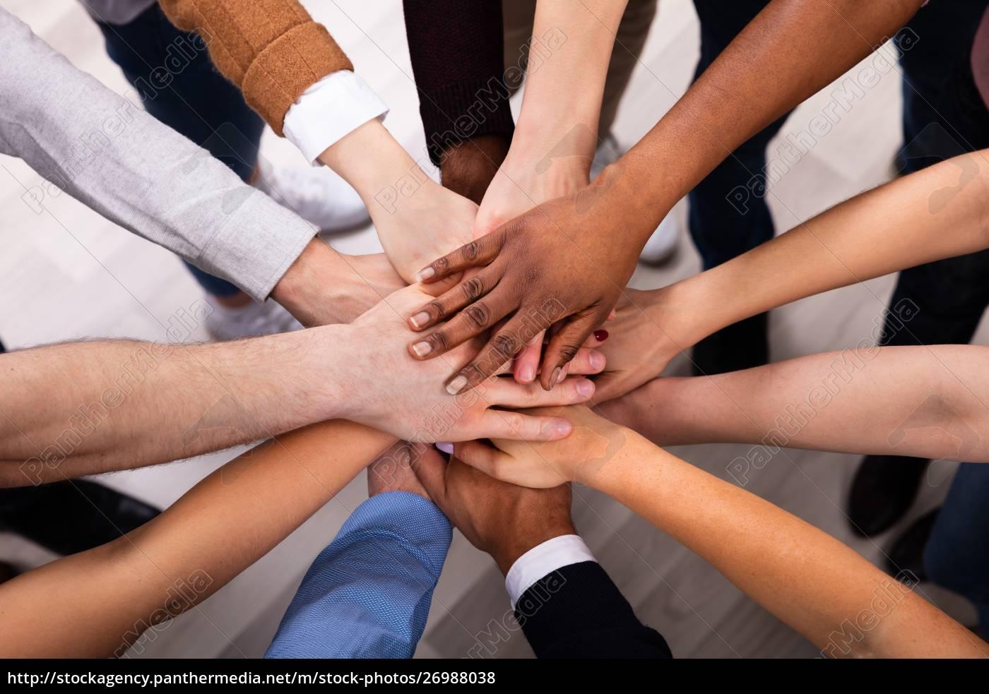 diverse, menschen, stapeln, hand, zusammen - 26988038