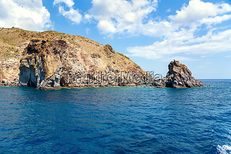 rocky cliff coast of the lipari