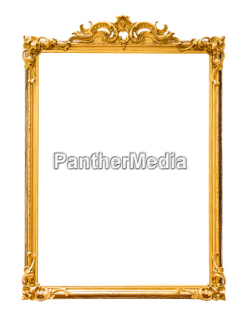 golden decorative picture frame isolated on
