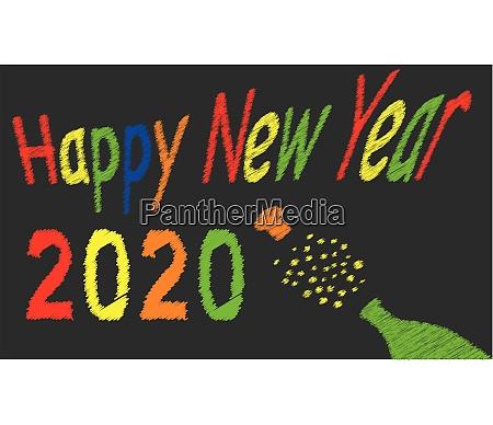 frohes neues jahr kreidetafel fuer 2020