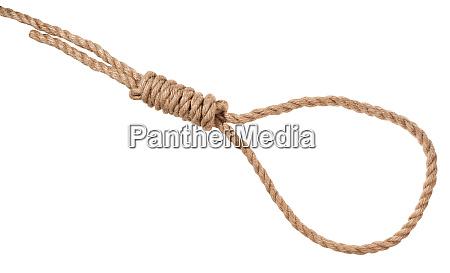 hangman knoten auf dickem juteseil isoliert