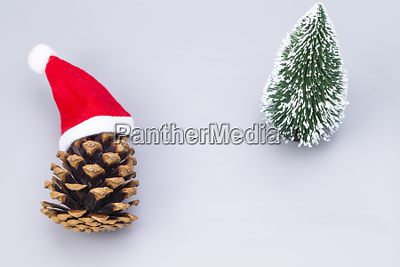 pine crone with santa hats and