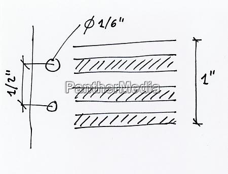 handgezeichnete abbildung von spezifikationen von kontinuierlichem