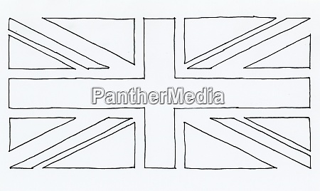 hand gezogen flagge vereint koenigreich uk