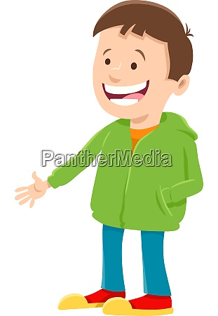 happy boy cartoon character in sweatshirt