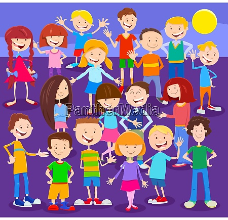 cartoon children characters large group