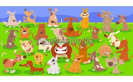 hunde cartoon figuren riesige gruppe