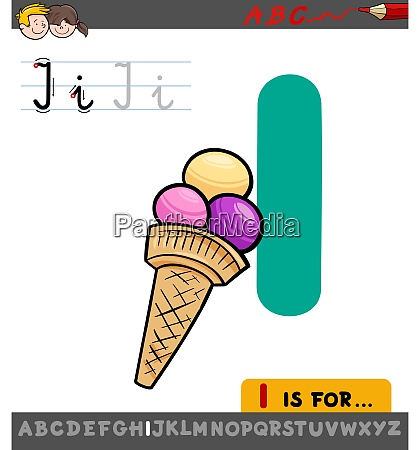 letter i worksheet with cartoon ice