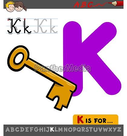 letter k worksheet with cartoon key