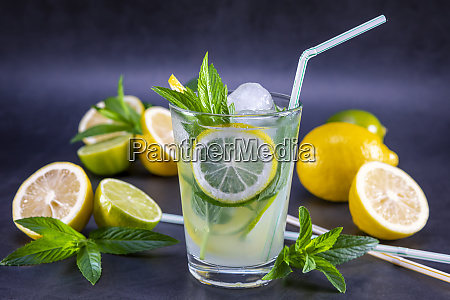 cold refreshing summer lemonade with mint