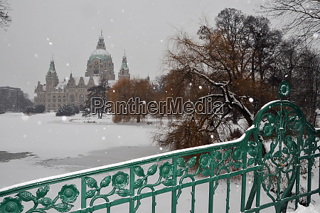 snowy new town hall in hannover