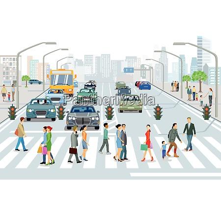 strassenverkehr mit fussgaengern und autos auf