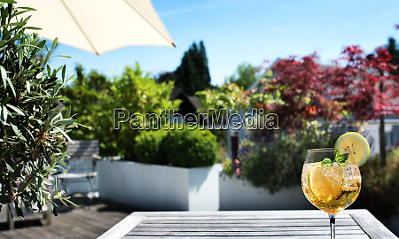 sun terrace with summer drink