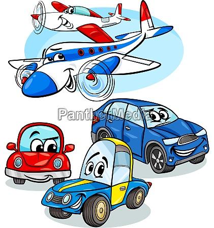 autos und flugzeuge gruppe cartoon illustration
