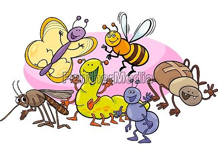 glueckliche insekten cartoon figuren gruppe