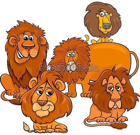 lions cartoon animal characters group