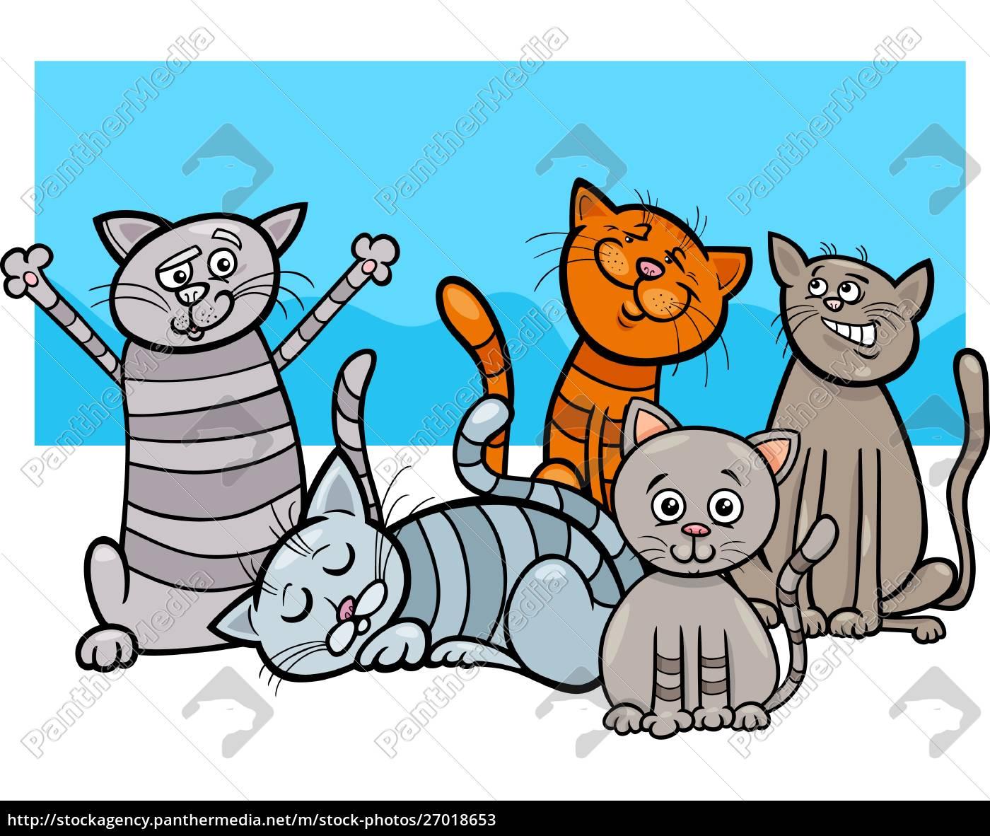 lustige katzen gruppe cartoon illustration - lizenzfreies