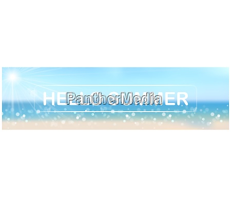hello summer banner with bokeh effect